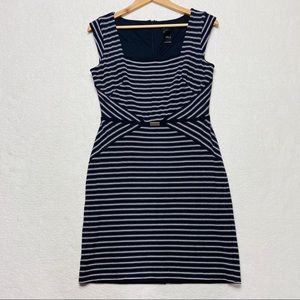 ANN TAYLOR Sheath Dress Blue White Striped Belt 6